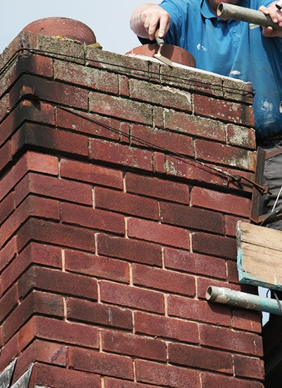 Repairing flashing on a chimney